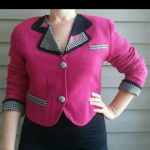 Vintage 80s 90s Magenta Cropped Blazer Checkered
